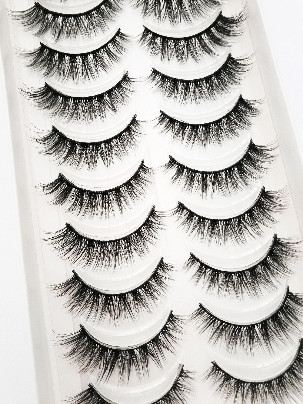 NEW 2/5/10 Pairs Natural False Eyelashes Fake Lashes Long Makeup 3d Mink Lashes Extension Eyelash Mink Eyelashes for Beauty 54