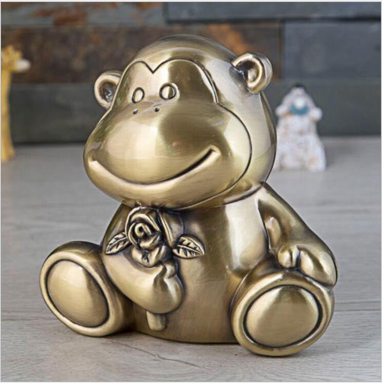 Caja de dinero de metal con caricatura de monkey, alcancía de metal para niños, caja de almacenamiento de dinero, caja de metal PB059