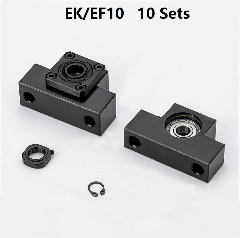 10 pcs EK10 Lado Fixo e 10 pcs EF10 Flutuado Side para conjuntos 10 apoio final do parafuso da esfera cnc parte EK/EF10