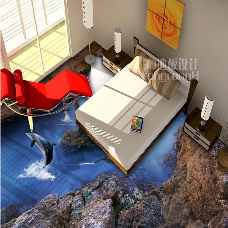 Free Shipping Dolphin reef 3D floor painting thickened lobby living room bedroom bathroom restaurant flooring wallpaper mural
