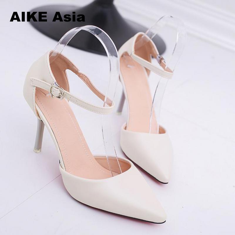 Женские туфли-лодочки размера плюс 32-42, заостренный носок, лакированные туфли на высоком каблуке, Сексуальные вечерние туфли с ремешком на щ...