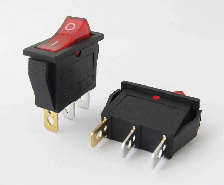 KCD3 16A 250V/20A 125V   3 broches, bouton rouge, interrupteur à bascule, interrupteur dalimentation à bascule 5 pièces/lot
