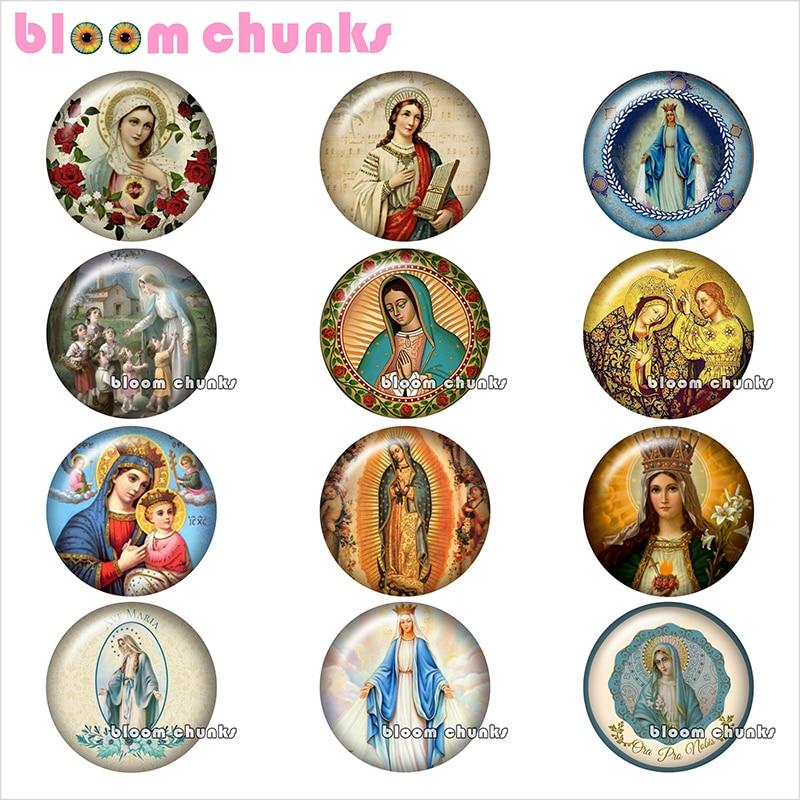 Bless Virgin Mary, cabujón de cristal redondo para fotos, demostración, Parte posterior plana, hallazgos 12mm/18mm/20mm/25mm TL1117