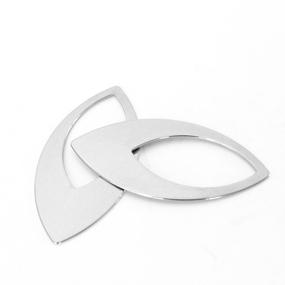10 unids/lote 23*47mm de acero inoxidable hoja de Metal DIY pendientes de gota para las mujeres ahuecan hacia fuera pendiente F3387
