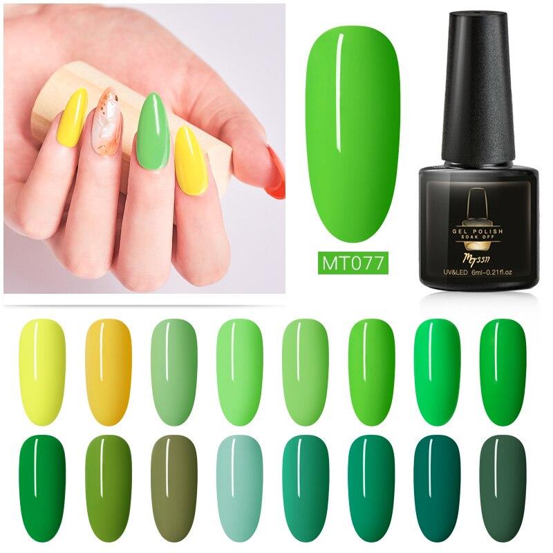Mtssii, serie verde amarillo fresco, colores puros, esmalte de uñas Soak Off en Gel, Gel LED UV, barniz sólido para arte de uñas, laca de manicura de 6ml