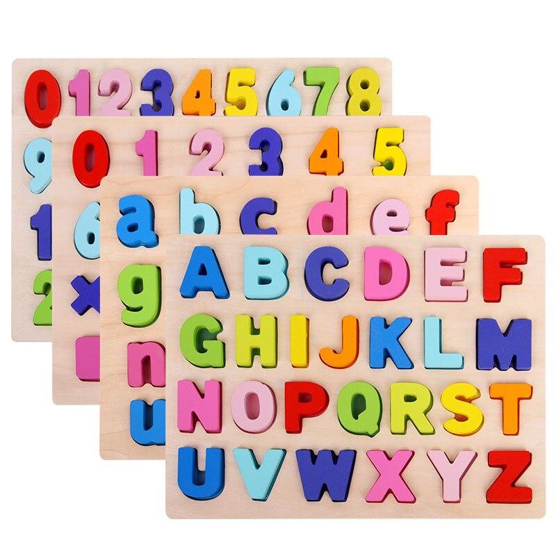 Rompecabezas de madera minúscula del alfabeto juguetes educativos de aprendizaje temprano para niños tablero de alfabeto YH0464H