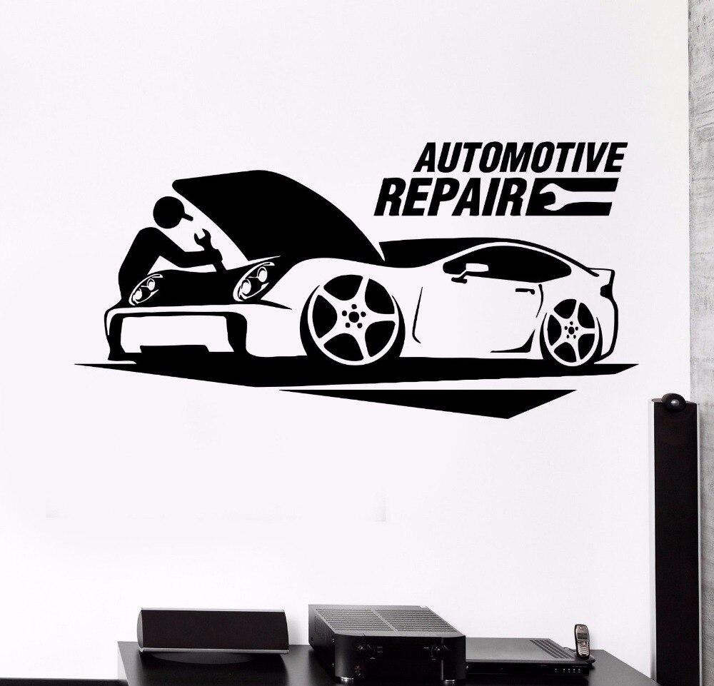 Pared arte cartel reparación de automóviles coche etiqueta de la pared de garaje decoración de la pared removible calcomanía de vinilo para pared de reparación de coches decoración AY785