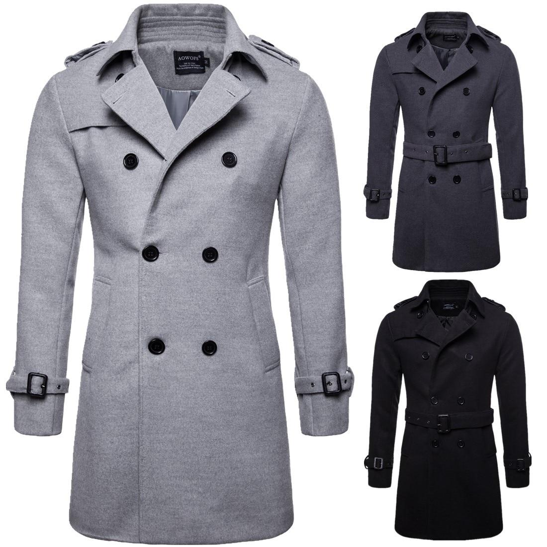 Ветровка мужская, новая, большого размера, длинное, шерстяное пальто, Европейский код, материал, ветровка, мужская куртка, ветровка B050