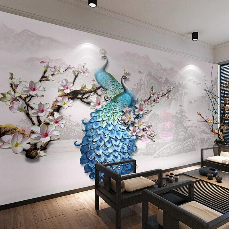 Фото обои Европейский Стиль Синий Павлин 3D настенные фрески Гостиная ТВ диван фон обои для стен Papel де Parede