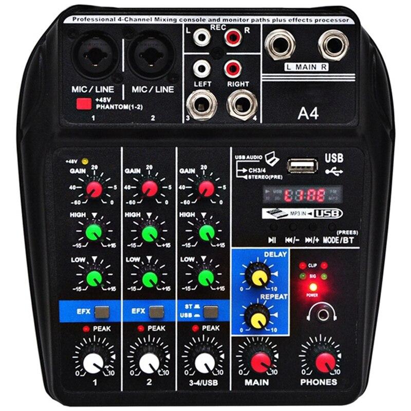 Eu Plug A4 Sound Mixing Console Bluetooth Usb Record Computer Playback 48V Phantom Power Delay Repaeat Effect 4 Channels Usb A#8