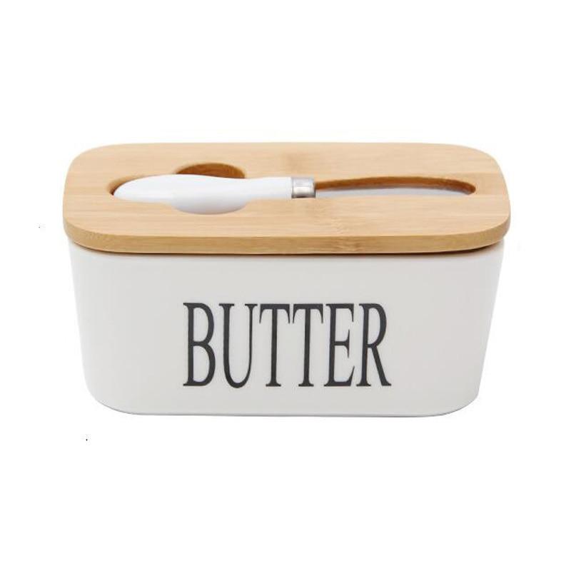 Герметичная коробка для масла в скандинавском стиле, керамическая тарелка для масла, белая, с деревянной крышкой и ножом, поднос для хранени...