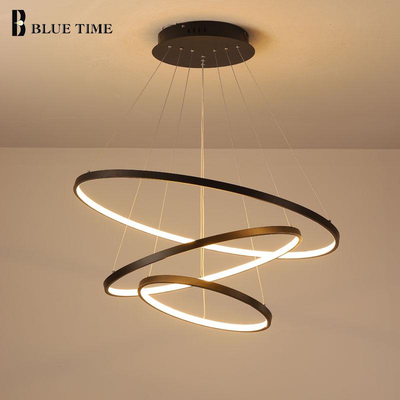 Lampara Colgante-مصباح سقف LED معلق على شكل حلقات ، تصميم حديث ، إضاءة داخلية ، إضاءة سقف زخرفية ، مثالية لغرفة المعيشة أو غرفة الطعام.