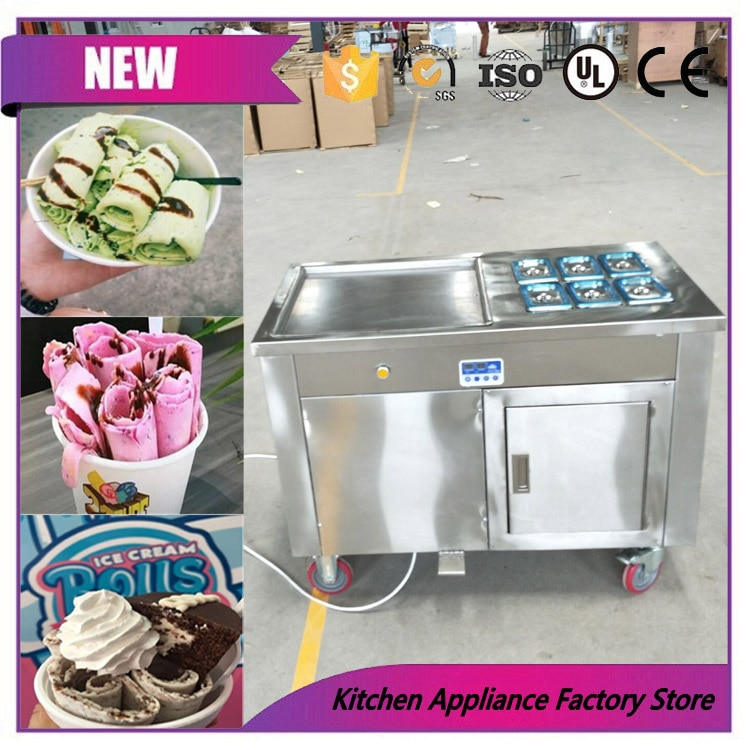 Aprobado por la CE, máquina de placa fría para helados fritos con rodillo duro y sartén única, en venta
