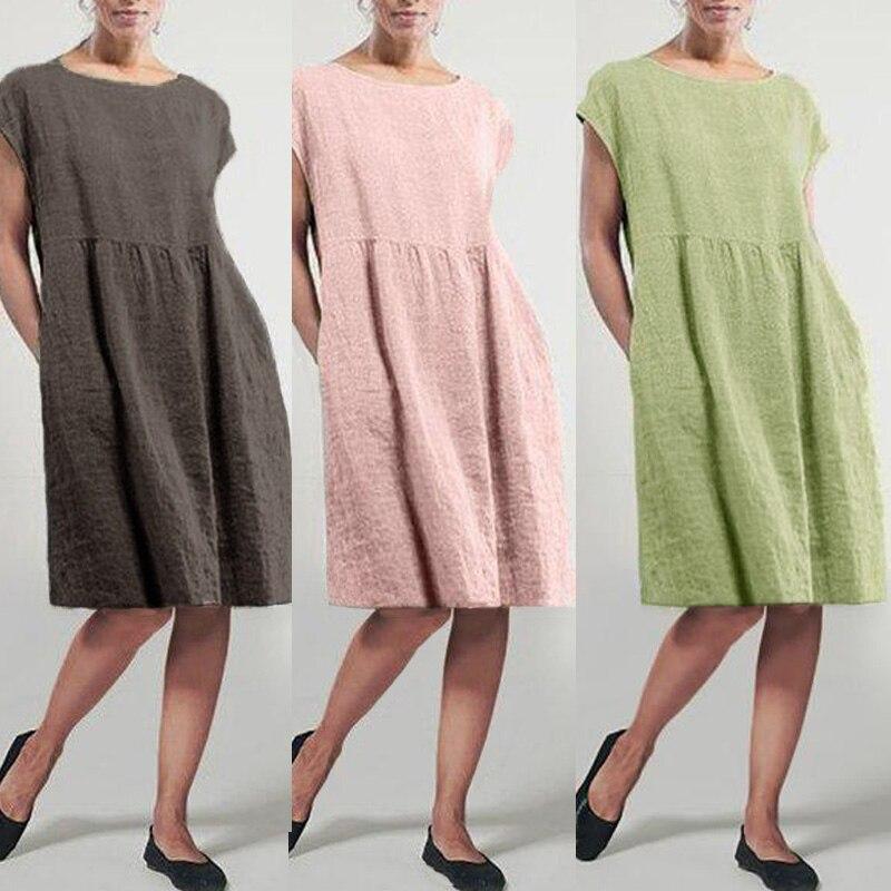 Zanzea vestido de verão feminino, robe manga curta plissado plus size casual elegante casual verão 2020
