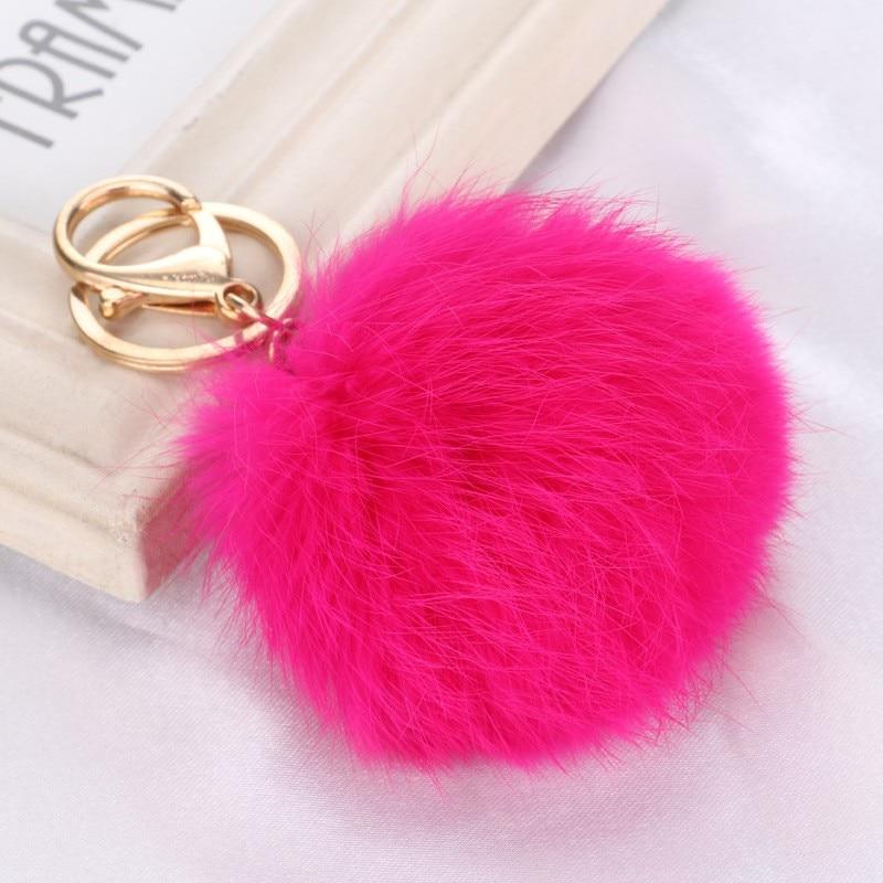 LLavero de peluche con bola de pelo de conejo de piel auténtica de 8CM en 15 colores
