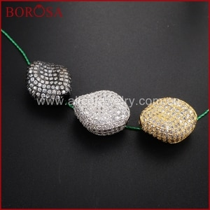 BOROSA New Rotary Beans Beads Micro Pave Zirconia Metal Spacer Beads for Bracelet/Necklace DIY Druzy Jewelry Finding  WX411
