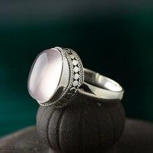 Garanti bague en argent Sterling 925 pour les femmes initiales femmes anneaux naturel Rose Quartz pierre Fine bijoux Anillo Compromiso