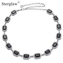 New women's designer Black square crystal waist chain belt for dresses Strap with stones female belts cinta modeladora F014