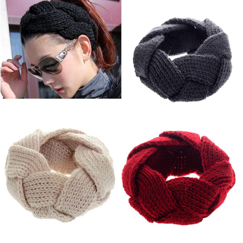 Vincha elástica ancha de invierno para mujer, diadema trenzada de punto trenzado de ganchillo, turbante, diadema, accesorios para el cabello