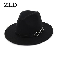 ZLD New Women Men Wool Vintage Gangster Felt Fedora Hat With Wide Brim Gentleman Elegant Lady Winter Autumn Belt Jazz Caps