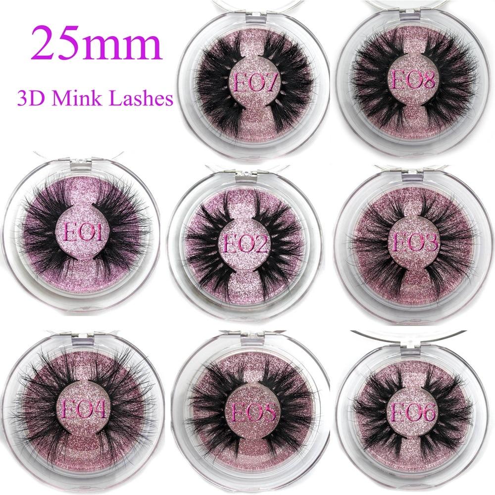 Mikiwi 25mm False Eyelashes Wholesale Thick Strip 25mm 3D Mink Lashes Custom Packaging Label Makeup Dramatic Long Mink Lashes