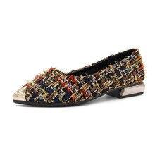 حذاء نسائي صيفي أنيق للنساء مصنوع من المعدن بلون واحد مسطح حذاء بمقدمة مدببة للربيع والصيف للسيدات #18