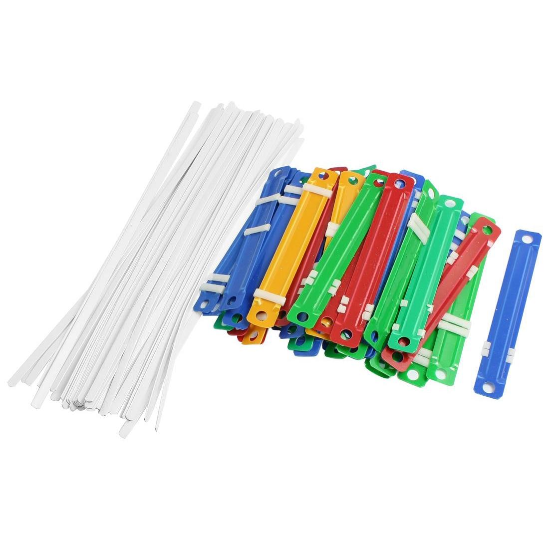 5x50 pces escola de escritório de plástico colorido emperramento de duas peças documento prendedores de papel