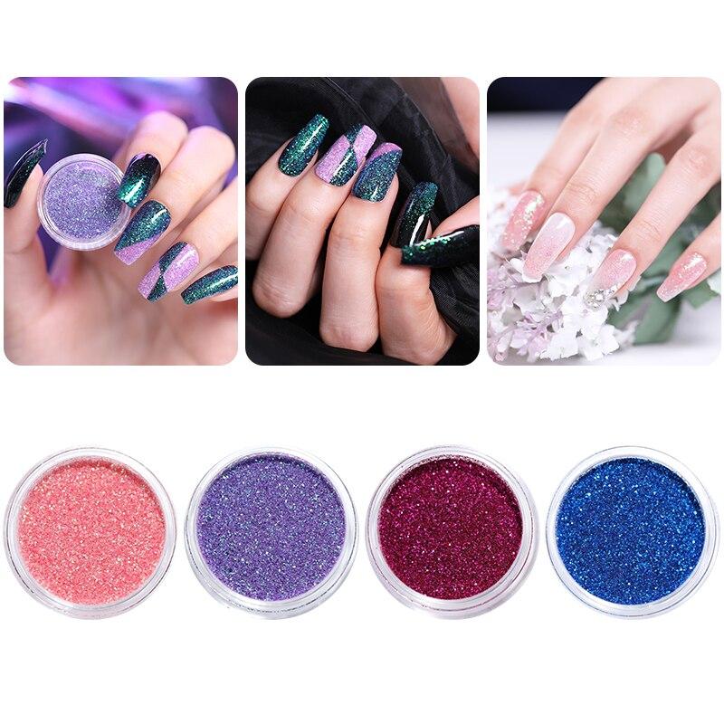 1 g/caja pigmento de brillo de uñas adelgazante gradiente rosa púrpura azul DIY polvo de uñas de cromo diseño DIY