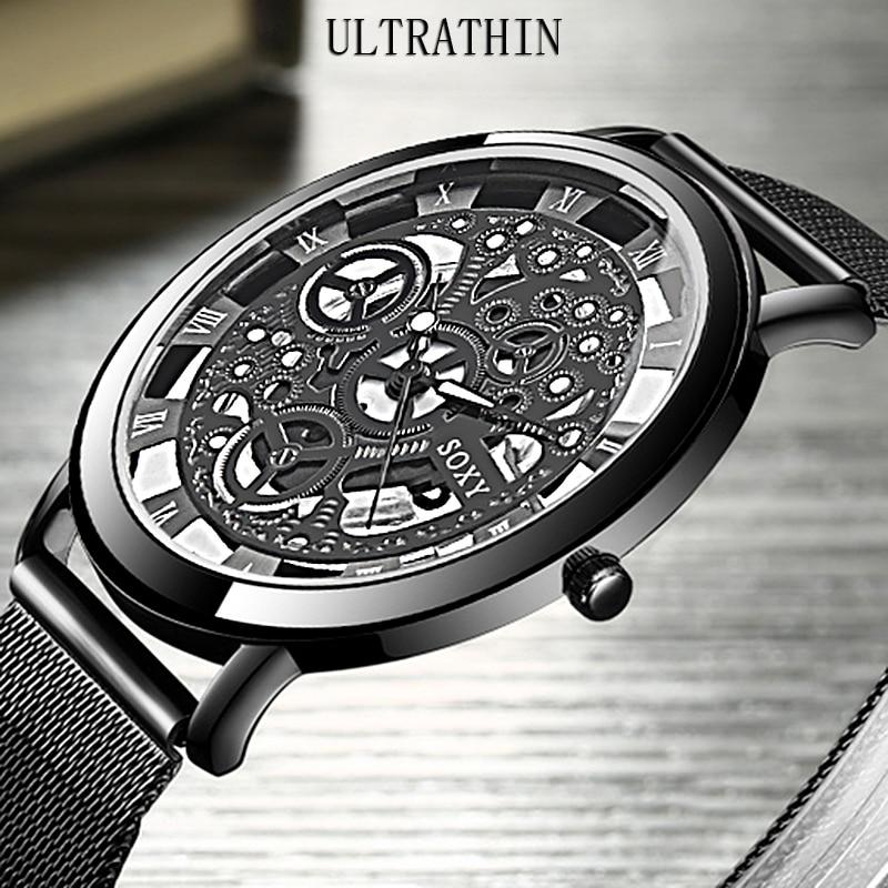 SOXY Wrist Watch mężczyźni pasek z siatki kobiet zegarki kwarcowe Unisex projektant mody zegarek z wycięciami relogio feminino montre femme 2019