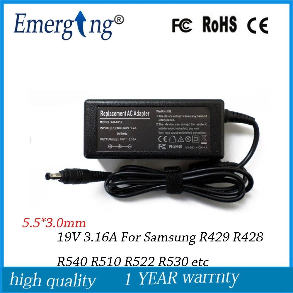 19 V 3.16A 5,5*3,0mm Ladegerät AC Laptop Adapter versorgung Für samsung R429 R428 R540 R510 R522 R530 serie