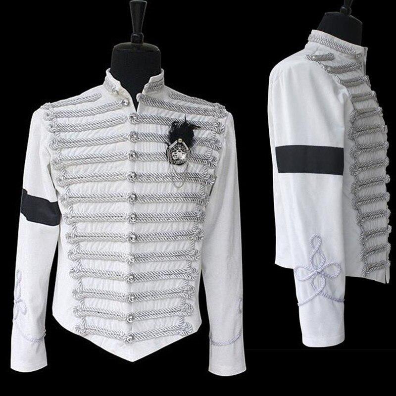 MJ Michael Jackson clásico hecho a mano Inglaterra militar blanco chaqueta Formal vestido Casaul Halloween show colección de regalo