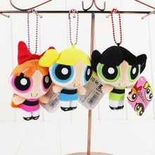 3pcs/lot Power puff Girls Plush Bag Pendant Bubbles Blossom Buttercup Keychain Keyring Soft Plush Toy Stuffed Doll
