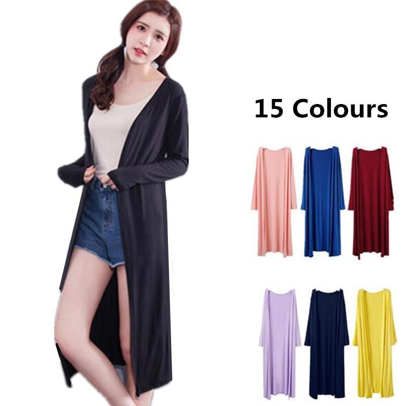 Nueva llegada mujeres primavera marca algodón blusa delgada manga larga Sudadera larga cárdigan abrigo talla grande M-4XL negro rojo blanco rosa