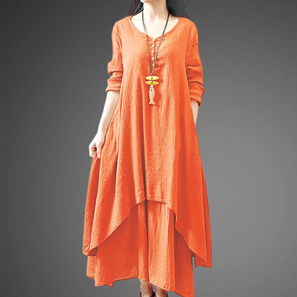 Faylisvow 5XL Vintage algodón Lino largo Maxi vestido de tamaño grande mujer Casual de dos capas Vestidos de verano holgados mujeres Vestidos