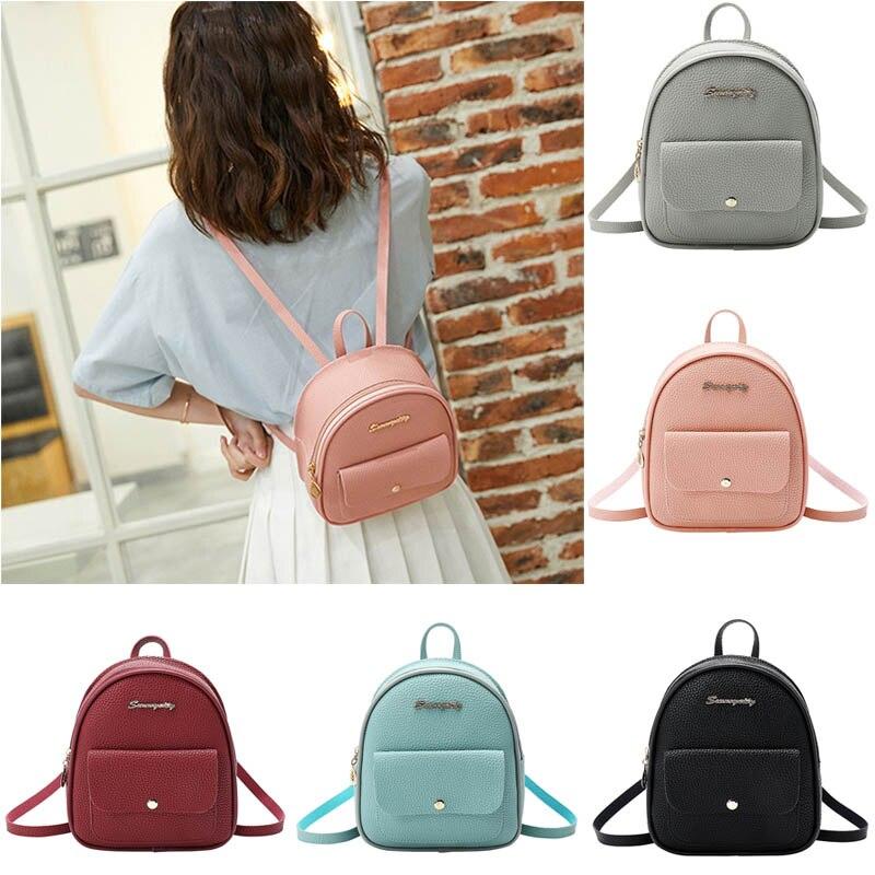 Mini mochila para mujer, bolso de hombro individual de gran capacidad con patrón Litchi para viajes escolares, la mejor oferta-WT