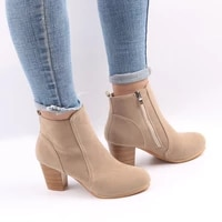 seggnice 2019 fashion women shoes retro ankle boots high heels zipper boots plus size sping martin booties spring summer shoes
