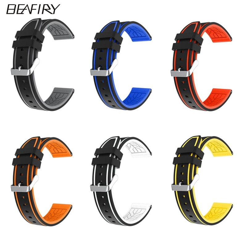 1pc silicone led light digital rubber sport wrist child watch in yellow blue pink green red white black ladies horloge kinderen BEAFIRY Soft Silicone Rubber Watch Band Strap 20mm 22mm 24mm Waterproof Watchband black grey orange blue red yellow white sport