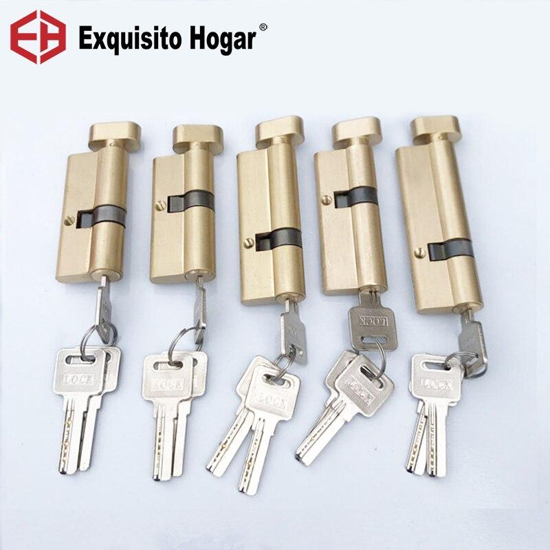 Núcleo excéntrico personalizado 70 75 80 85 90 95MM cerradura de cama de oro cilindro de puerta de latón puro cerradura alargada extendida