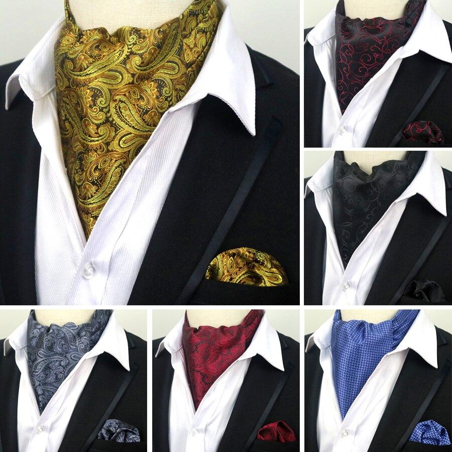 LJT 07 08 09 Мужской винтажный 100% Шелковый Аскот галстук и платок с принтом пейсли буквенный набор Карманный квадратный галстук наборы Свадебная вечеринка