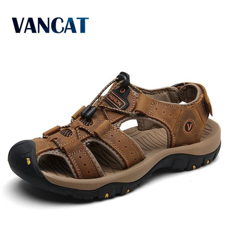 Vancat 2019 New Big Size Genuine Leather Cowhide Men Sandals Summer Quality Beach Slippers Casual Sn