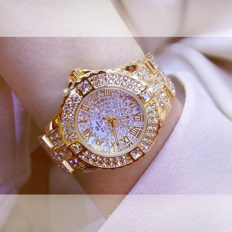 Las nuevas mujeres Rhinestone relojes de plata de los hombres vestido de dama reloj de acero inoxidable de la marca correa, esfera grande reloj de pulsera de reloj de cristal