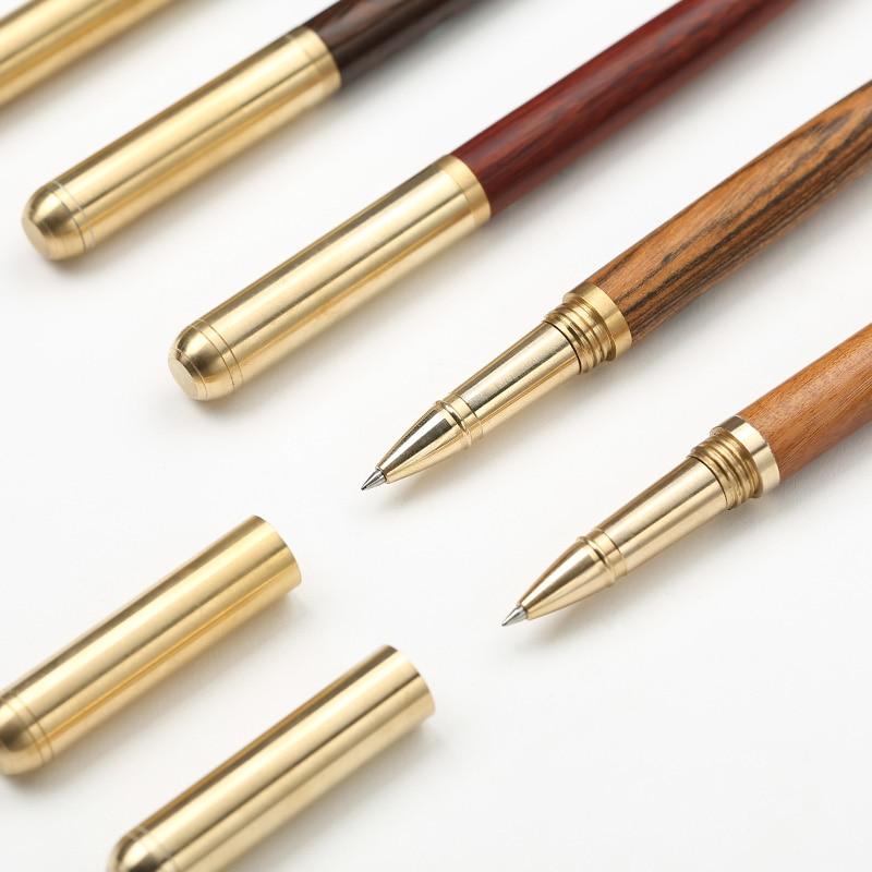 Luxury Wood Brass ballpoint pen Metal black ink ball pens office pens Stationery School supplies Canetas escolar 2002