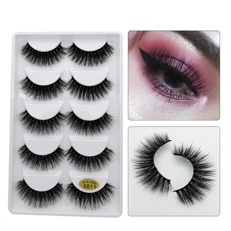 Wholesale 50 boxes mink eyelashes natural long 3d mink lashes false lashes mink false eyelash extensions full strip cilios G811