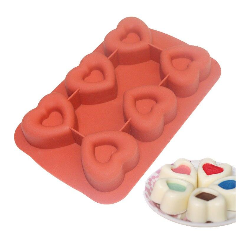 Molde de silicona con forma de corazón de 6 cavidades para muffins Pudding Cake Chocolate Cupcake 3D hornear pastel Pan Cupcake