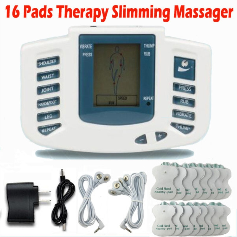 Masajeador estimulador eléctrico Pulse Ten Pins + 16 almohadillas masajeador de terapia muscular de relajación corporal botón ruso o inglés.