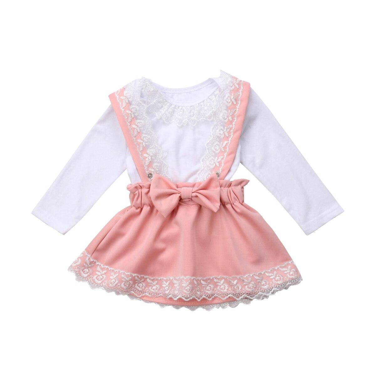Ropa de encaje para niñas recién nacidas, mono, Tops de manga larga, falda de fiesta con lazo de encaje, 2 uds, ropa bonita para niñas bebés 0-3T