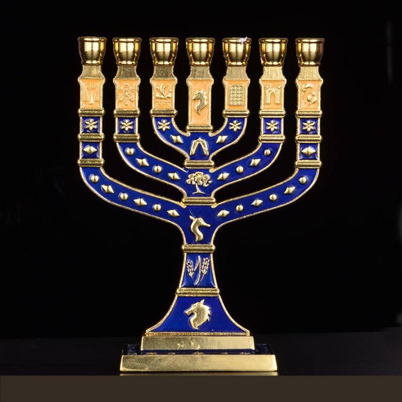 Hanukkah Menorah Jewish Judaica Israel Vintage Brass Chanukah Displays недорого