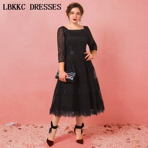 Long Sleeve Prom Dresses Lace Gala Jurken Tea Length Vestido Formatura Long Prom Dress Elegant Women Evening Dress Plus Size