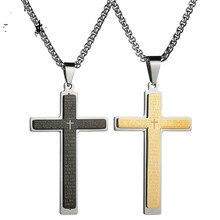 Accessoires bijoux croix en acier et titane   Pendentif Simple de Couple, cadeaux chrétiens