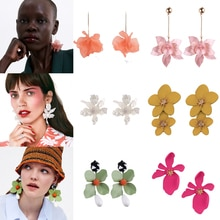 Girlgo Trendy 2019 Summer Za Flower Resin Stud Earrings For Women Romantic Floral Statement Hanging Earrings New Elegant Jewelry